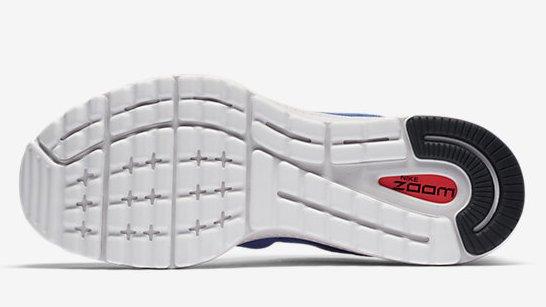 Zapatillas para correr Nike Air Zoom Vomero 12 - Detalle de la suela con material Lunar - Color azul para hombre