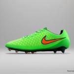 El botín de fútbol Nike Magista cuenta con un Verde veneno superior y un Swoosh Naranja