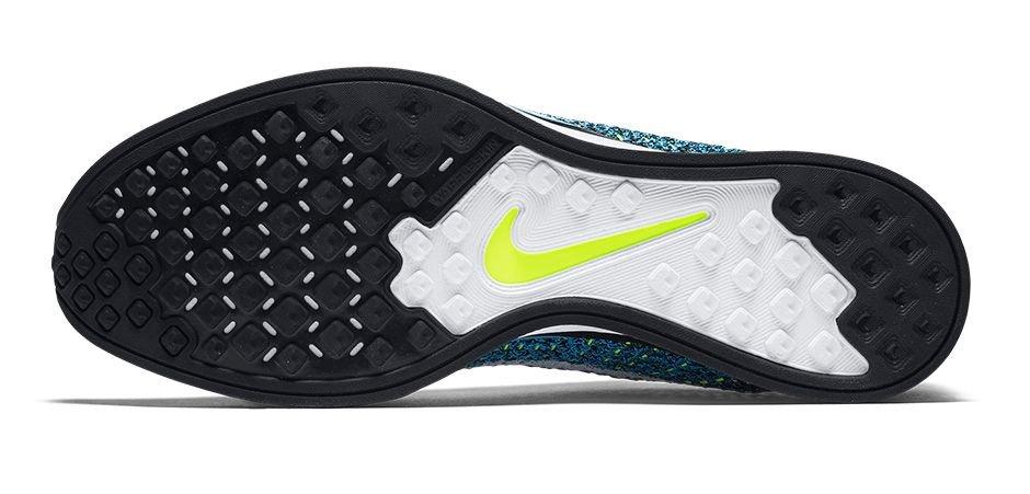 Zapatillas para correr Nike Flyknit Racer color Blue Cactus - Suela