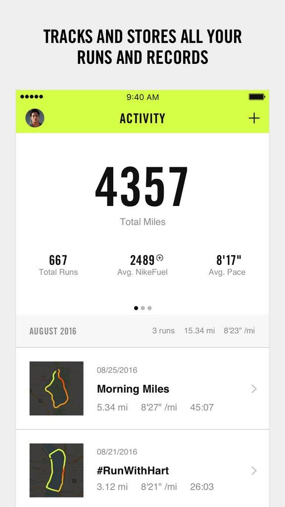 Nike+ Run Club app - Historia de actividad