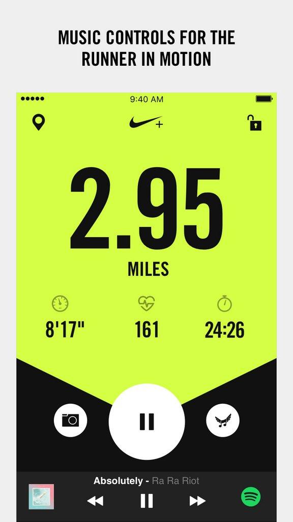 Nike+ Run Club app - Pantalla mientras corres