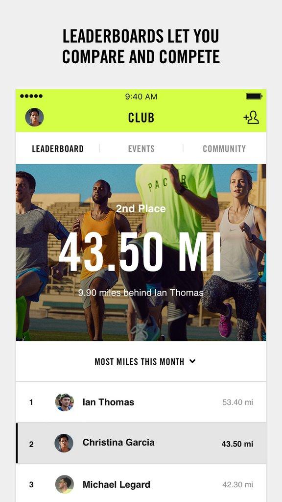 Nike+ Run Club app - Tabla de líderes