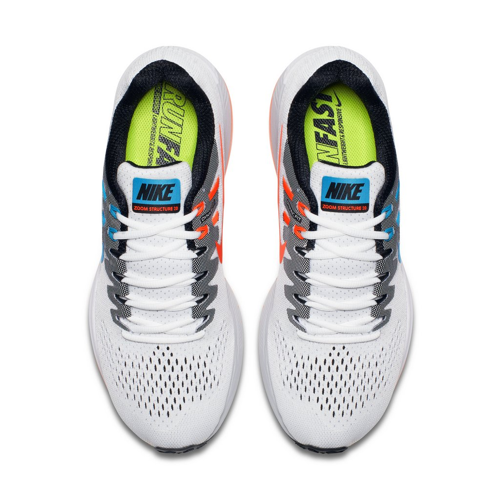 Zapatillas para correr nike Air Zoom Structure 20 Aniversario color Blanco y Celeste - Arriba