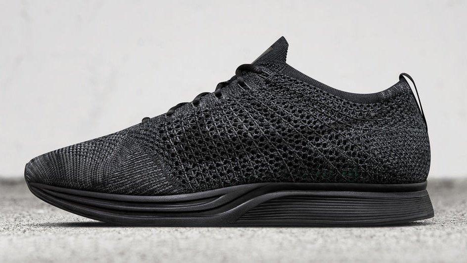 "Zapatillas para correr Nike Flyknit Racer de color triple negro ""Midnight"""