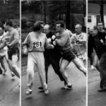 K. Switzer corriendo con el dorsal 261 en la Maratón de Boston de 1967, mientras Jock Semple trata de agarrarla y su compañero Thomas Miller lo empuja y quita del camino. Crédito:: Boston Herald