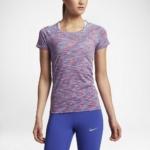 Camiseta mangas cortas para correr Nike Dry Knit para mujer color lila - detalle reflectante delantero