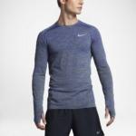 Camiseta mangas largas para correr Nike Dry Knit para hombre color azul - detalle reflectante delantero