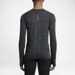 Camiseta mangas largas para correr Nike Dry Knit para hombre color gris oscuro - detalle reflectante posterior