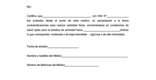 Certificado de aptitud física para correr
